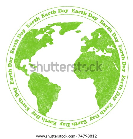 Rubber stamp illustration with world map and circular Earth Day text - stock photo