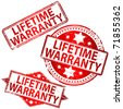 "Rubber stamp illustrations showing ""LIFETIME WARRANTY"" text - stock vector"