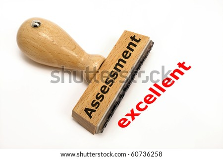 rubber stamp marked with assess - stock photo