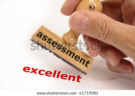 rubber stamp marked with assessment and copy excellent - stock photo