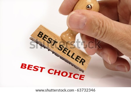 rubber stamp marked with BEST SELLER and its copy BEST CHOICE - stock photo