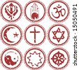 rubber stamp of world religions grungy look - stock photo