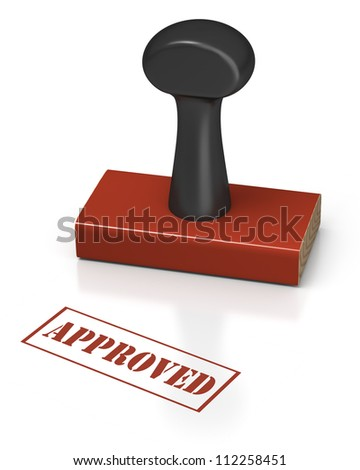 Rubber stamp on a white background with message of approved - stock photo
