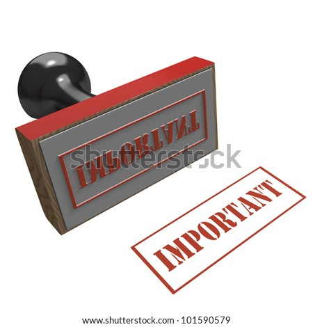 Rubber Stamp on a white background with message of Important
