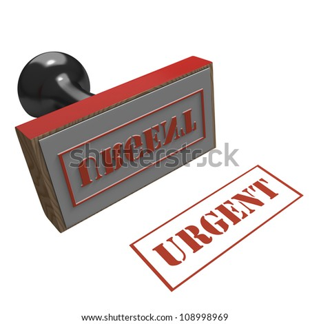 Rubber Stamp on a white background with message of Urgent
