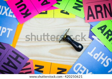 rubber stamp on center many labels for export - stock photo