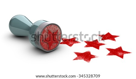 Rubber stamp over white background with five stars printed on it. concept image for illustration of high customer experience and quality level. - stock photo