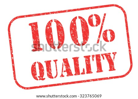 """Rubber stamp """"100% quality"""" on white - stock photo"""
