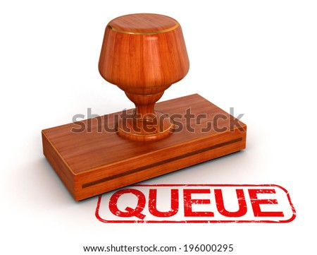 Rubber Stamp queue (clipping path included) - stock photo