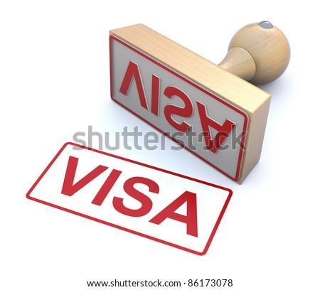 Rubber stamp - Visa - stock photo