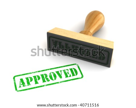 "Rubber stamp with ""Approved"" sign on white background. Computer generated image - stock photo"