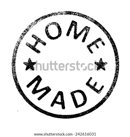 "Rubber stamp with "" HOME MADE "" text on white - stock photo"