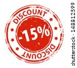 Rubber stamp with text Discount 15 percent icon isolated on white background. Illustration - stock vector