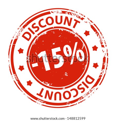 Rubber stamp with text Discount 15 percent icon isolated on white background. Illustration - stock photo