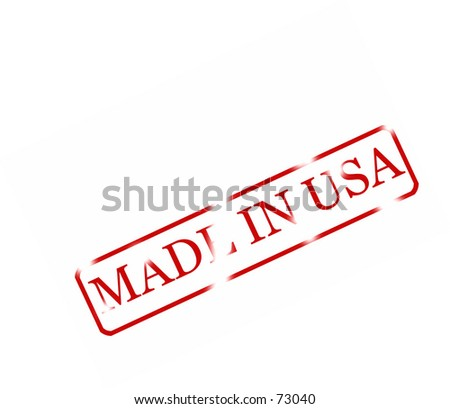 Rubber stamp with text ' made in usa'. red letters on white background. Can be used in many designs.