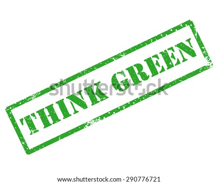 Rubber stamp with text think green