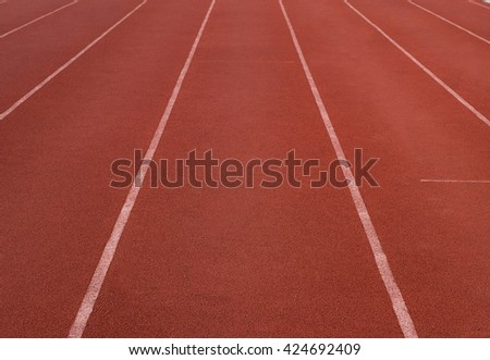 Rubber standard of athletics stadium running track or way or challenge or outdoor, racetrack , line, sprint ,sport - stock photo