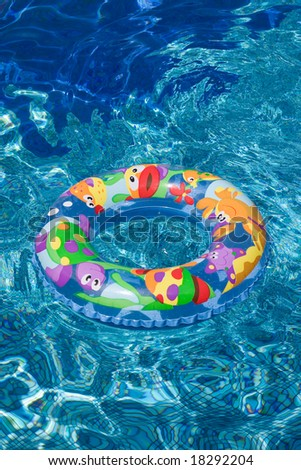 Rubber swimming ring in water