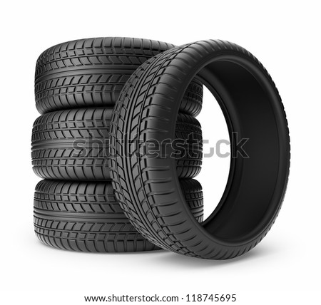 Rubber tire. Wheel 3D, Icon isolated on white background - stock photo