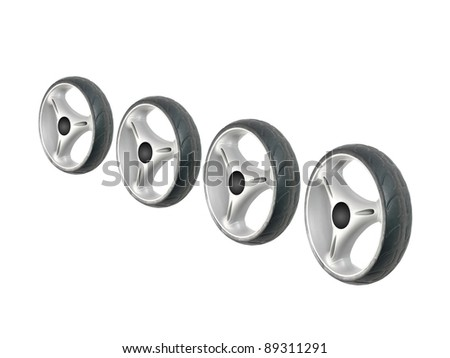 Rubber tyres isolated against a white background