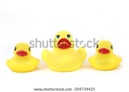 rubber yellow  Three duck toy - stock photo