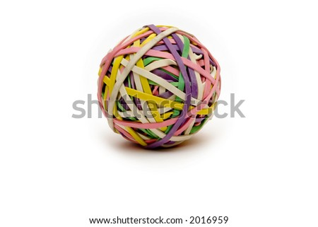 rubberband ball on white slight shadow  used to help children with adhd study - stock photo