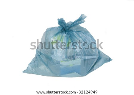 rubbish bag isolated in white - stock photo