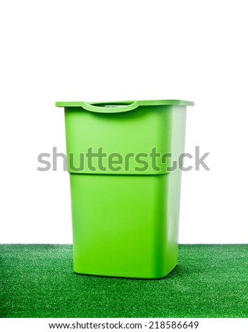 Rubbish bin in the garden with white background.