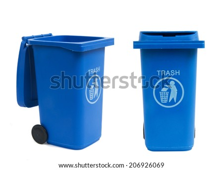 rubbish bins isolated on white - stock photo