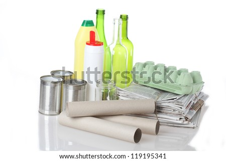Rubbish for segregation on isolated white background - stock photo