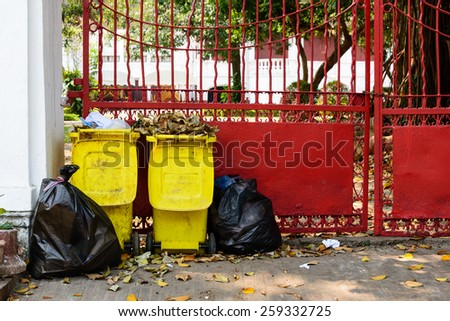 Rubbish full from all bins and garbage bags. - stock photo