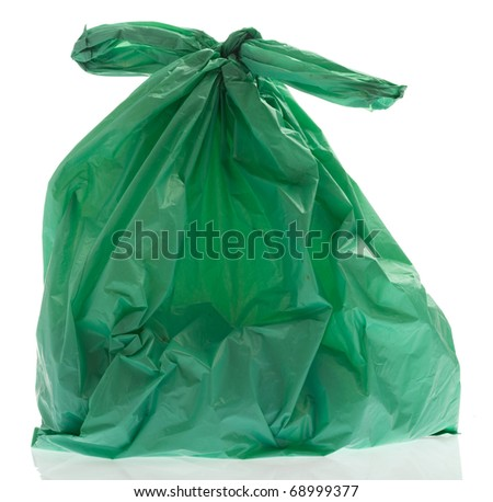rubbish plastic bag on a white background - stock photo