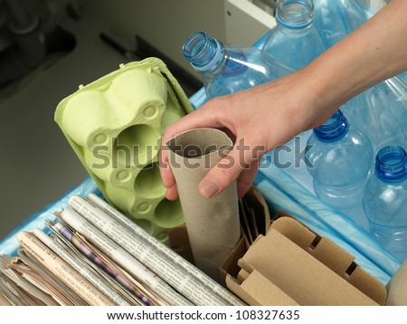 Rubbish recycling in your own house,closeup - stock photo