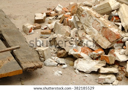 Rubble and wood from building destruction. - stock photo