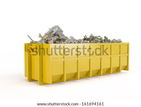 Rubble container isolated on white background - stock photo