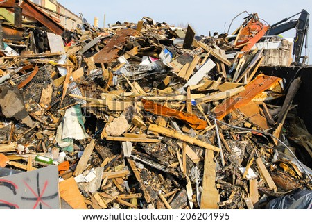 Rubble from a building that is being demolished.