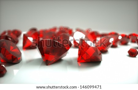 rubies on a gray background in studio - stock photo
