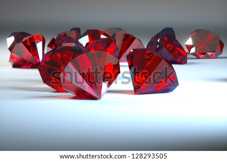 rubies on a gray background, the foreground - stock photo