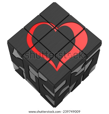 Rubik cube heart on a white background. Put an heart on the cube. Red love that prevailed - stock photo