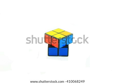 Rubik's cube on white background. This famous cube puzzle was invented by the architect, Erno Rubik in 1974.
