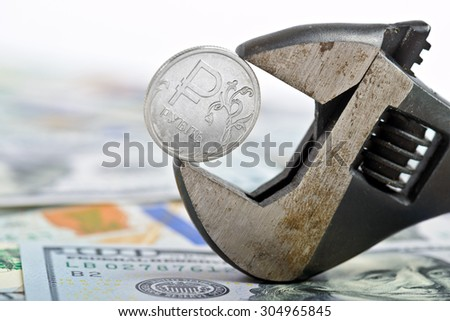 Ruble control collapse crash exchange rate on international stock - stock photo