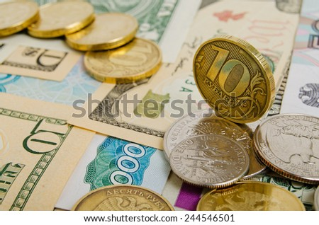 Ruble exchange rate against the dollar. - stock photo