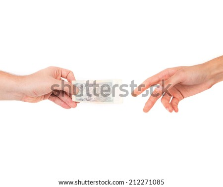 rubles in hands. Isolated on a white background. - stock photo
