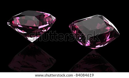 Ruby gems  isolated on black background. Gemstone