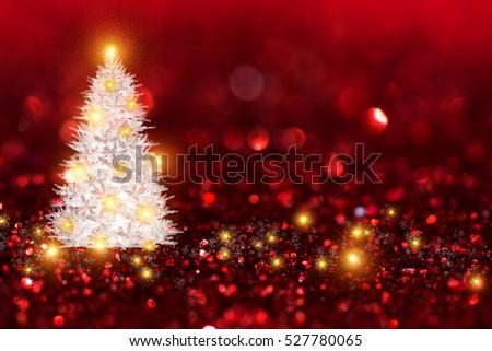 Ruby glitter bokeh background with white Chritsmas tree and light abstract.