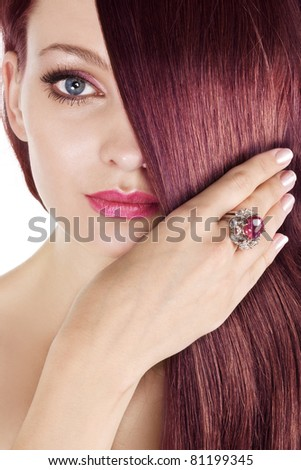 ruby hair - stock photo