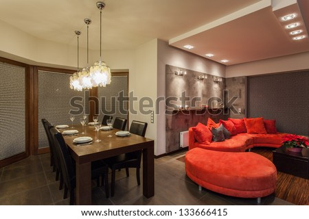 Ruby house - Dining room and living room - stock photo