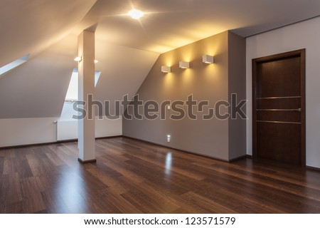 Ruby house - Empty and modern attic ready for move - stock photo