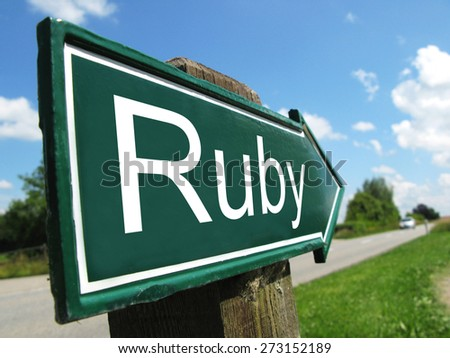 Ruby (programming language) signpost along a rural road