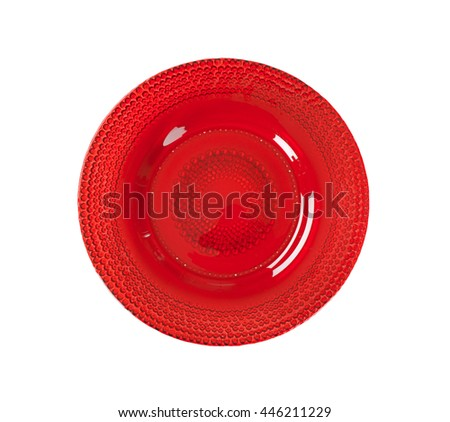 Ruby red glass bubble plate - stock photo